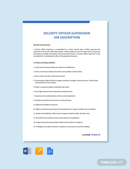 Free Security Officer Supervisor Job Ad/Description Template