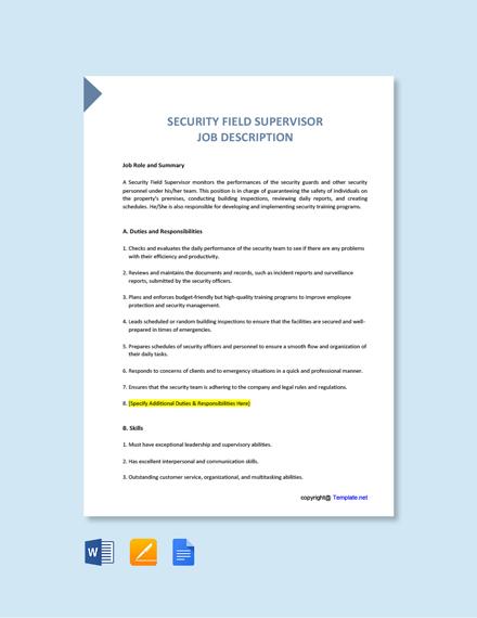 Free Security Field Supervisor Job Ad/Description Template