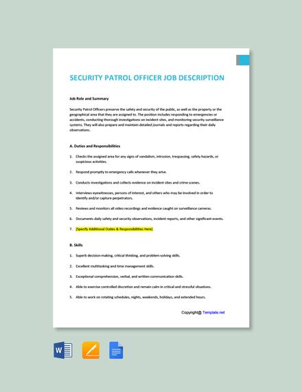 Free Security Patrol Officer Job Ad/Description Template
