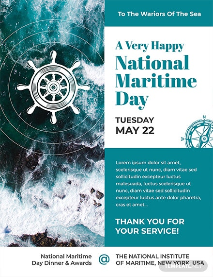 Free National Maritime Day Flyer Template