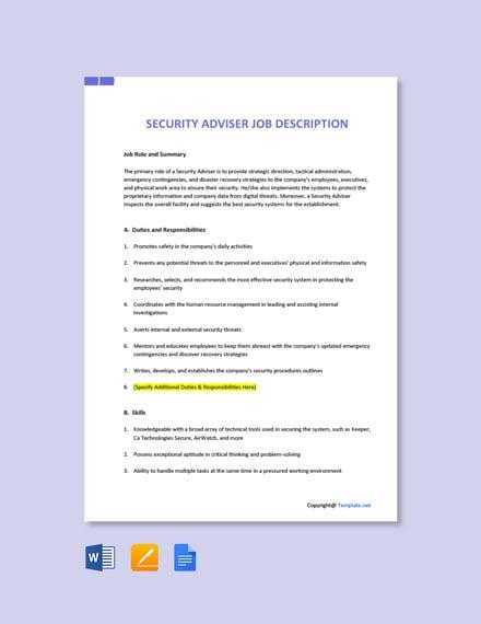 Free Security Adviser Job Ad/Description Template