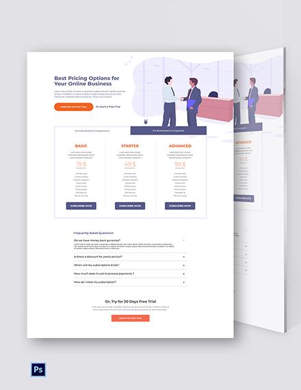 Free B2B SaaS Pricing Page Template