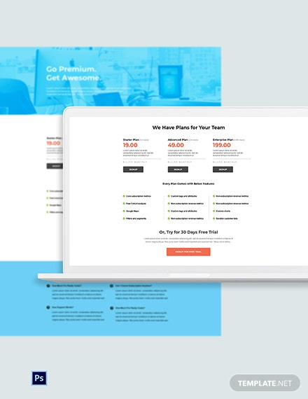 Free Business SaaS Pricing Page Template