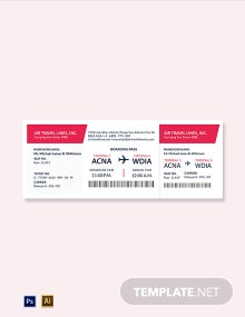 Blank Travel Ticket Template