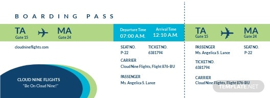 Boarding Pass Airline Ticket Template