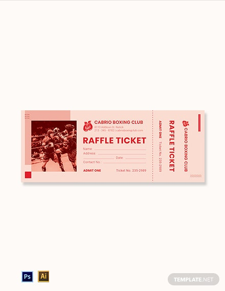 Boxing Raffle Ticket Template