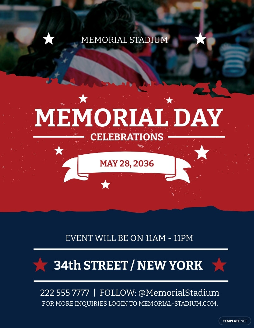 Memorial Day Flyer Template [Free JPG] - PSD