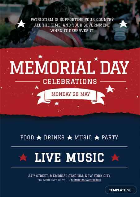 free memorial day bbq flyer template in adobe photoshop