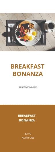 Breakfast Food Ticket Template