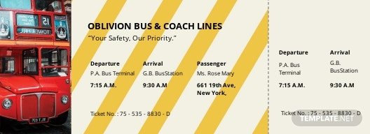 Bus Travel Ticket Template