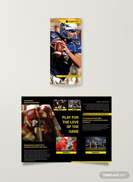Sports Bi Fold Brochure Template In Adobe Photoshop Template