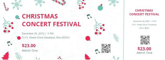 Christmas Concert Ticket Template