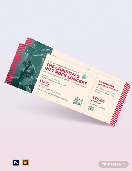 christmas gift concert ticket template 1x