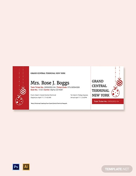 Christmas Train Ticket Template