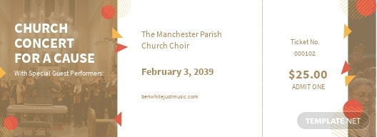 Church Concert Ticket Template