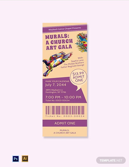Church Gala Ticket Template