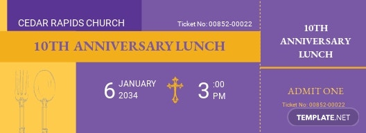 Church Lunch Ticket  Template