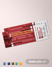 Free Elegant Football Ticket Invitation Template