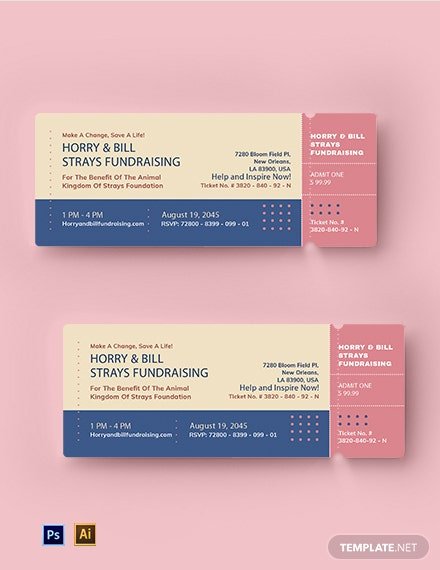 Free Modern Fundraising Event Ticket Template