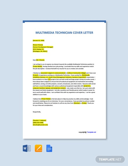 Free Multimedia Technician Cover Letter Template