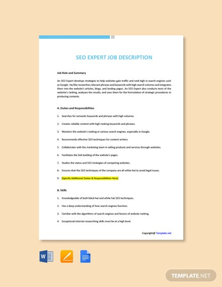 Free SEO Expert Job Description Template