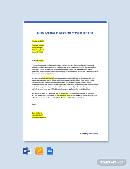Free New Media Director Cover Letter Template