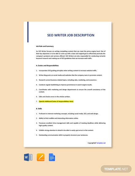 Free SEO Writer Job Ad/Description Template
