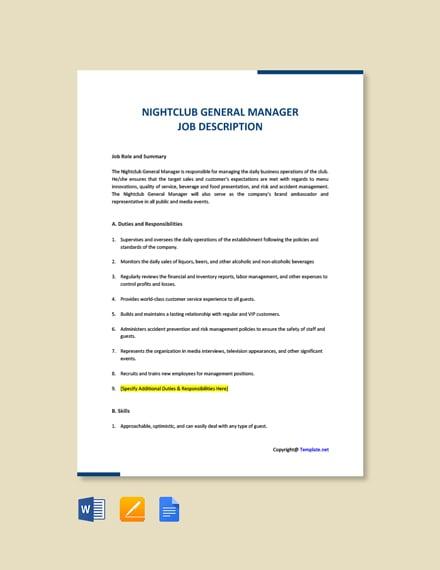 Free Nightclub General Manager Job Description Template