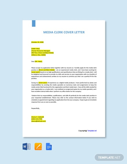 Free Media Clerk Cover Letter Template