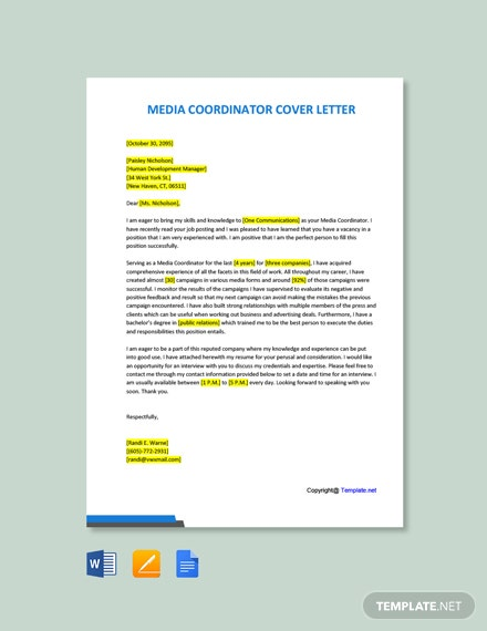 Free Media Coordinator Cover Letter Template