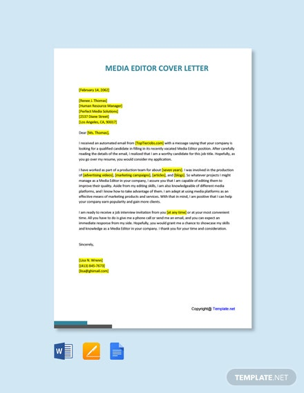 Free Media Editor Cover Letter Template