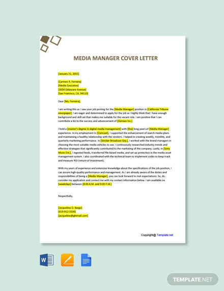 Free Media Manager Cover Letter Template