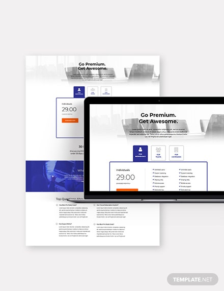 Marketing SaaS Pricing Page Download