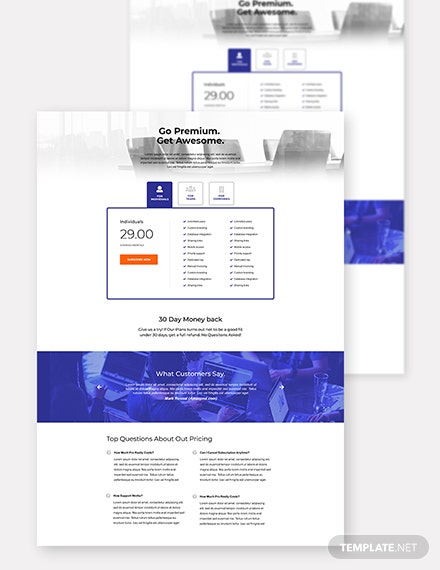 Marketing SaaS Pricing Page Template