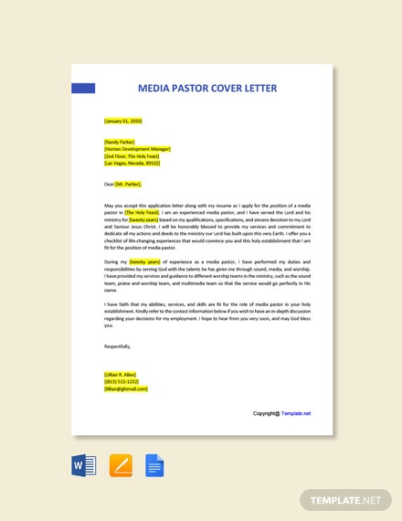 Free Media Pastor Cover Letter Template