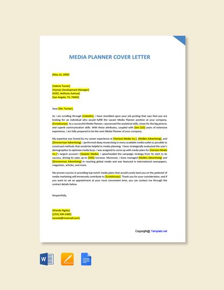 Free Media Planner Cover Letter Template