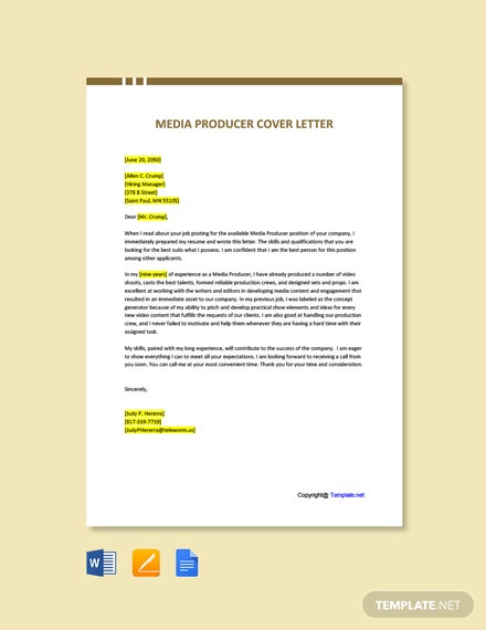 Free Media Producer Cover Letter Template