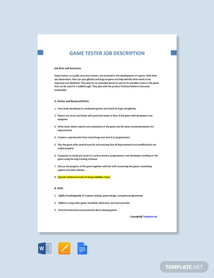 Free Game Tester Job Ad and Description Template