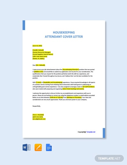 Free Housekeeping Attendant Cover Letter Template