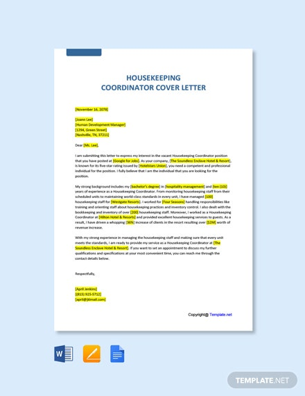 Free Housekeeping Coordinator Cover Letter Template