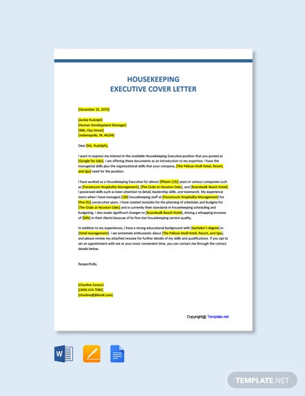 Free Housekeeping Executive Cover Letter Template