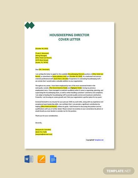 Free Housekeeping Director Cover Letter Template