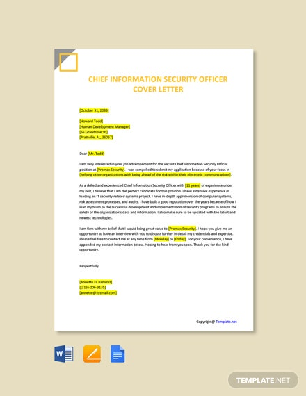 Free Chief Information Security Officer Cover Letter Template