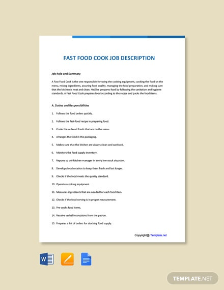 Free Fast Food Cook Job Ad and Description Template