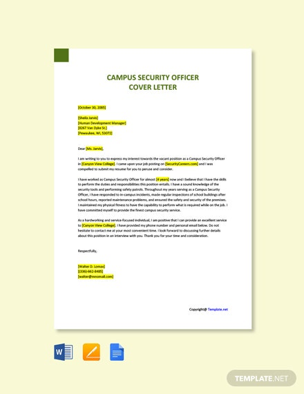 Free Campus Security Officer Cover Letter Template