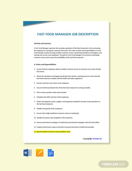 Free Fast Food Manager Job Description Template