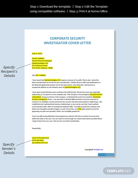 Corporate Security Investigator Cover Letter Template