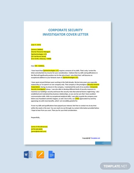 Free Corporate Security Investigator Cover Letter Template