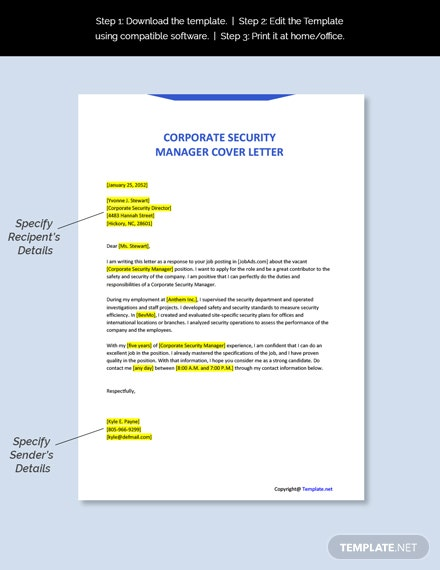 Corporate Security Manager Cover Letter Template