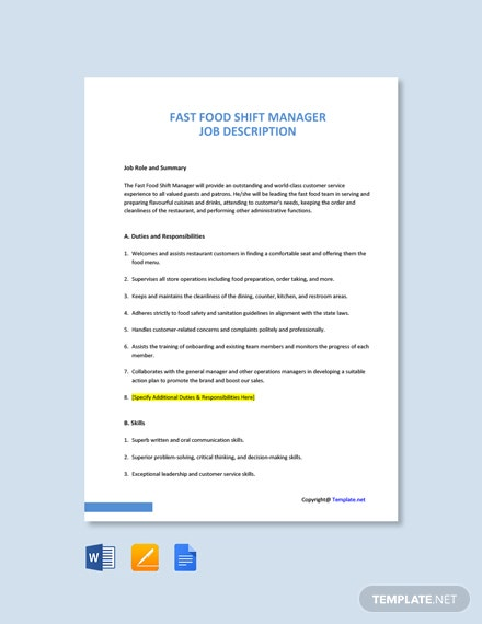 Free Fast Food Shift Manager Job Description Template